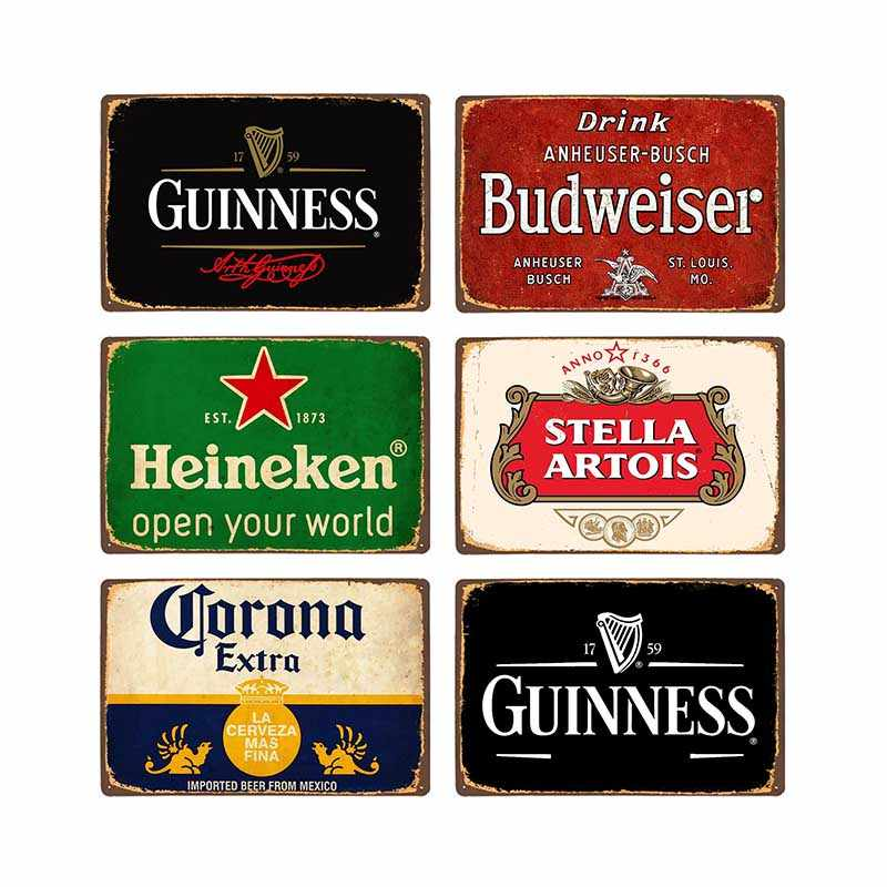 Beer Metal Plaque Vintage Tin Sign Wall Decor Bar Pub Club Man Cave Decorative Ice Cold Drink Poster Plates 20x30cm