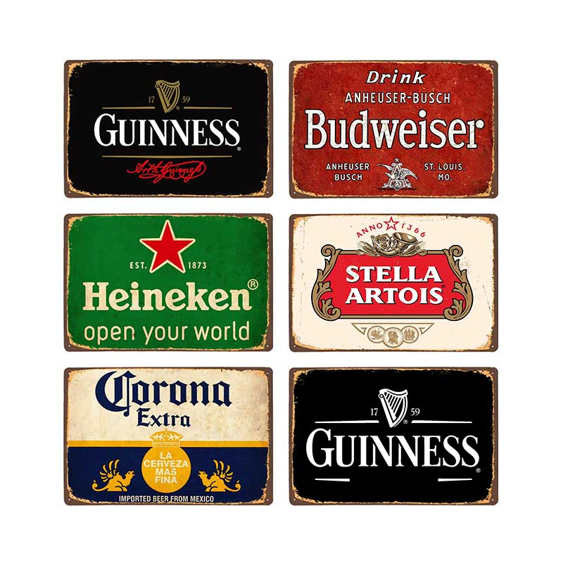 Beer Metal Plaque Vintage Tin Sign Wall Decor Bar Pub Club Man Cave Decorative Ice Cold Drink Poster Plates 20x30cm image
