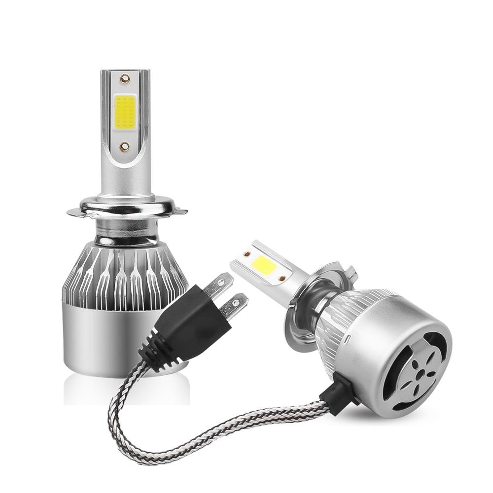 2 предмета в комплекте H1 H3 светодиодный лампы для передних фар H7 светодиодный Автомобильные фары H4 880 H11 HB3 9005 HB4 9006 H13 C6 6000K 72W 12V 7200LM авто фары