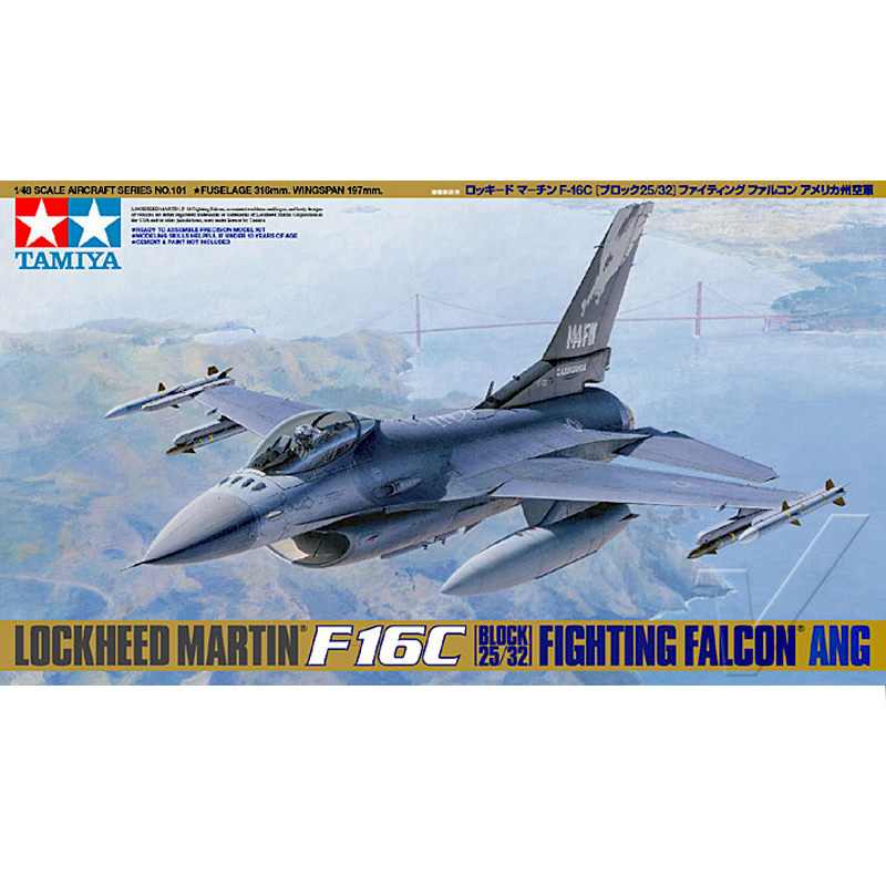 Tamiya 61101 1/48 Scale ANG Air Guard F16C Block 32/52 Fighting Falcon Fighter Display Toy Plastic Assembly Building Model Kit