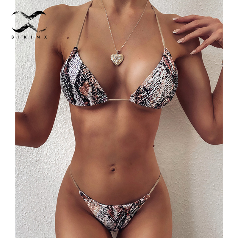 Triangle Snake Print Swimsuit Female 2020 Extreme Micro Bikini Thong Biquinis Halter Sexy Swimwear Women Bathing Suit Two Piece