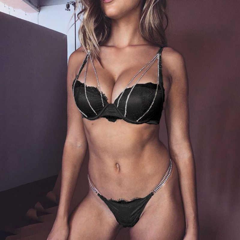 Rhinestone Metal Bra Set Lace Women Underwear Hollow Push Up Bra+Through+Garter