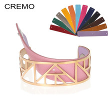 Cremo Giraffe Bracelets & Bangles For Women Stainless Steel Jonc Bijoux Femme Cuff Bangle Reversible Leather Cuff Bangles(China)