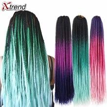 Xtrend, ломбер, косички для наращивания, синтетические, на крючках, косички для волос, 24 дюйма, 22 пряди в упаковке, чистый фиолетовый, розовый, голубой цвет