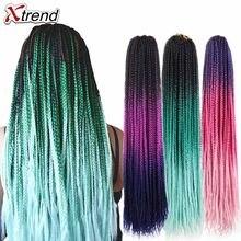 Xtendência ombre extensões de cabelo, sintético crochê tranças de cabelo 24 polegadas 22 fios por pacote puro roxo rosa azul cor