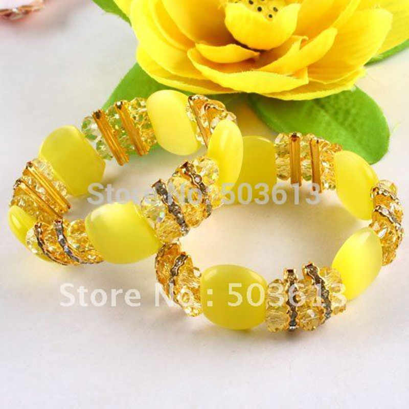 Fashion Cat's Eye Crystal Bead Bracelets Stretch Yellow color Accessory Bracelet One piece gcb1148