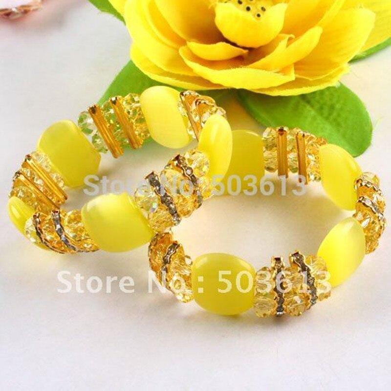 Модные тянущиеся браслеты с кошачьим глазом, желтый цвет, аксессуар для браслета из Crsytal бусин, цельный gcb1148 bracelet stress bracelet lacebracelet support   АлиЭкспресс