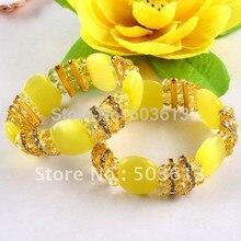 Free Shipping!Amazing Yellow Color Cat's Eye&Crystal Bead Bracelet Bangle gcb1148