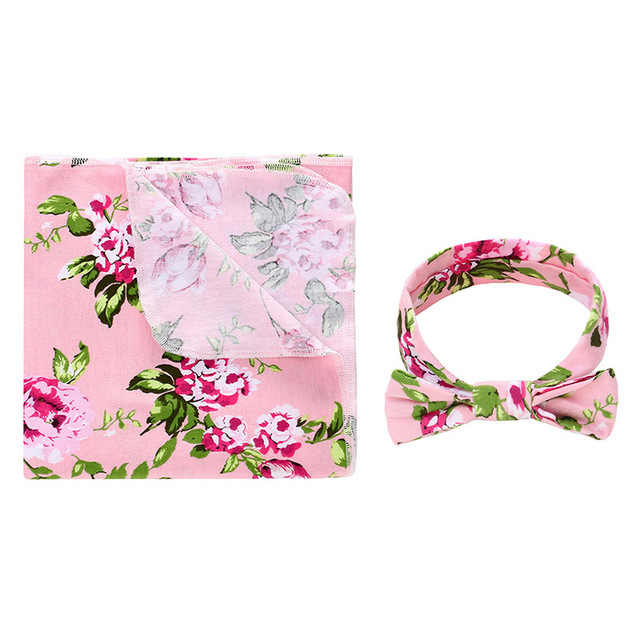 2pcs Newborn Baby Floral Swaddle Wrap Swaddling Sleeping Bag Blanket Headband Set