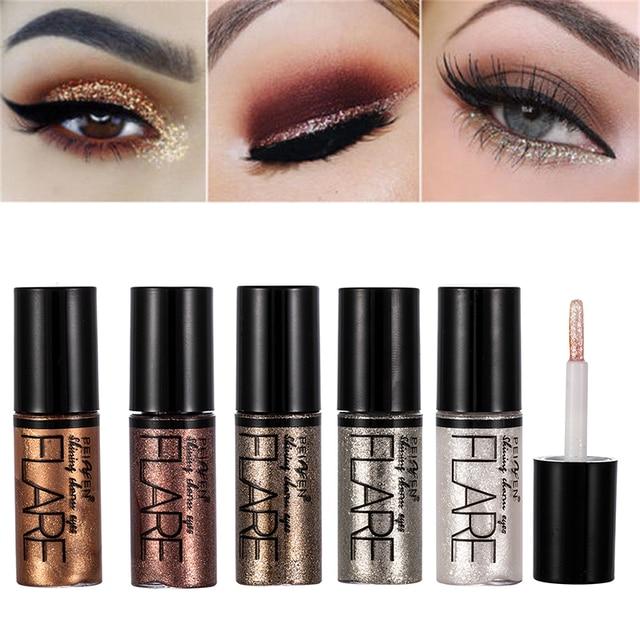 5 Color Metallic Shiny Eyeshadow Glitter Liquid Eyeliner Makeup Eye Liner Pen-Waterproof Makeup Pigment Eyeshadow Palette 2