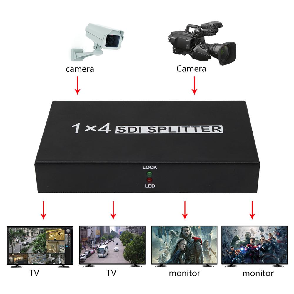 1x4 SDI Splitter Amplifier Converter SD SDI HD SDI 3G SDI Video Repeater Extender Adapter Distribution 1 in 4 out Camera to TV
