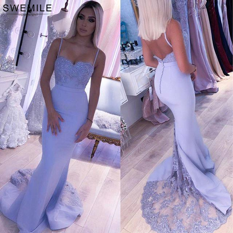 Sexy Backless Lavender Lace Mermaid Evening Dress 2019 Spaghetti Straps Evening Party Dresses With Sashes Robe De Soiree