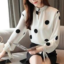 Blusas mujer de moda 2019 blouse women sutumn long sleeve shirts chiffon Bow Polka Dot Stand lantern Sleeve clothing 0350
