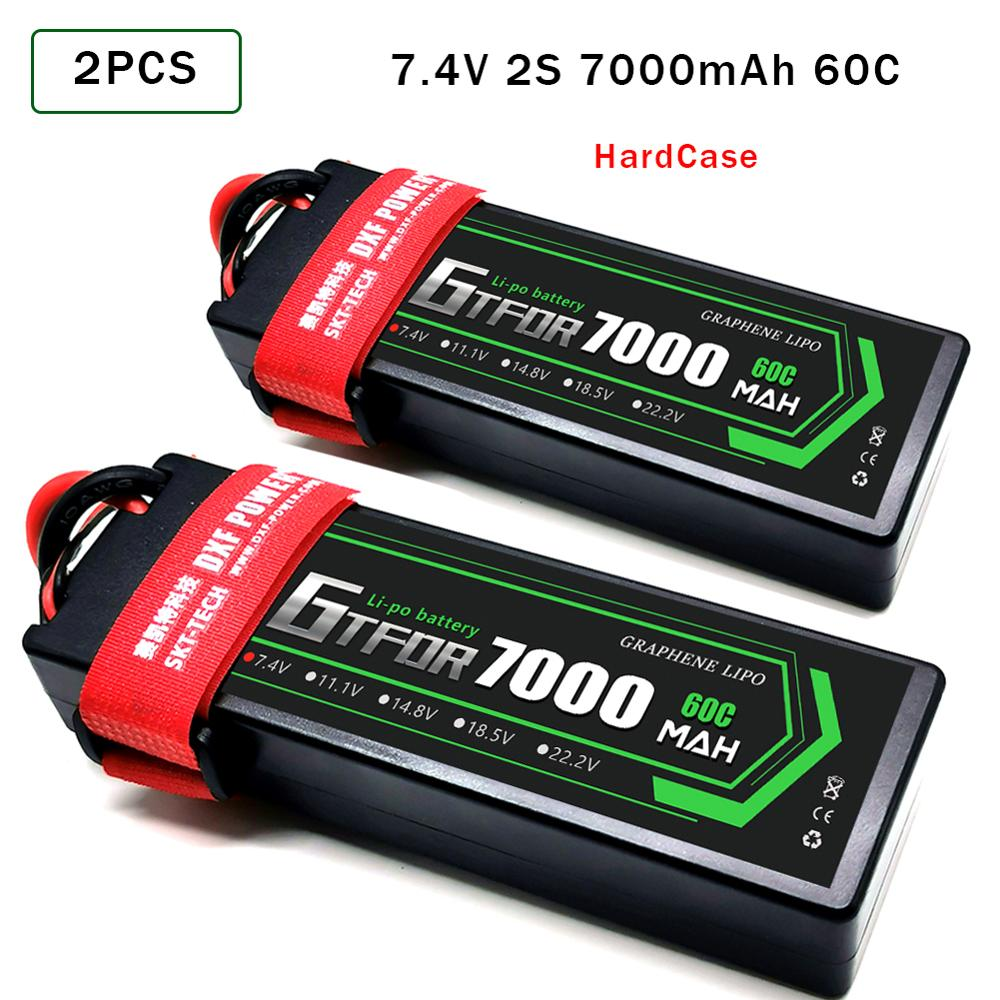 GTFDR 2PCS RC Battery Lipo 7.4V 11.1V  2S 3S 6000MAH 6500MAH 6200MAH 7000mah 50C 60C 80C 100C  120C For RC  Stampede Car Drone