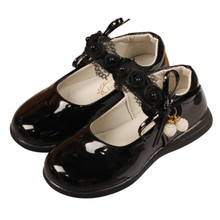 Fashion Girls Shoes Leather Children Princess Shoes Girls Pearls Kids Dance Shoes For Girls Size 21-36 Black White Red cheap Xinfstreet Cork Fits true to size take your normal size Patent Leather Flat with