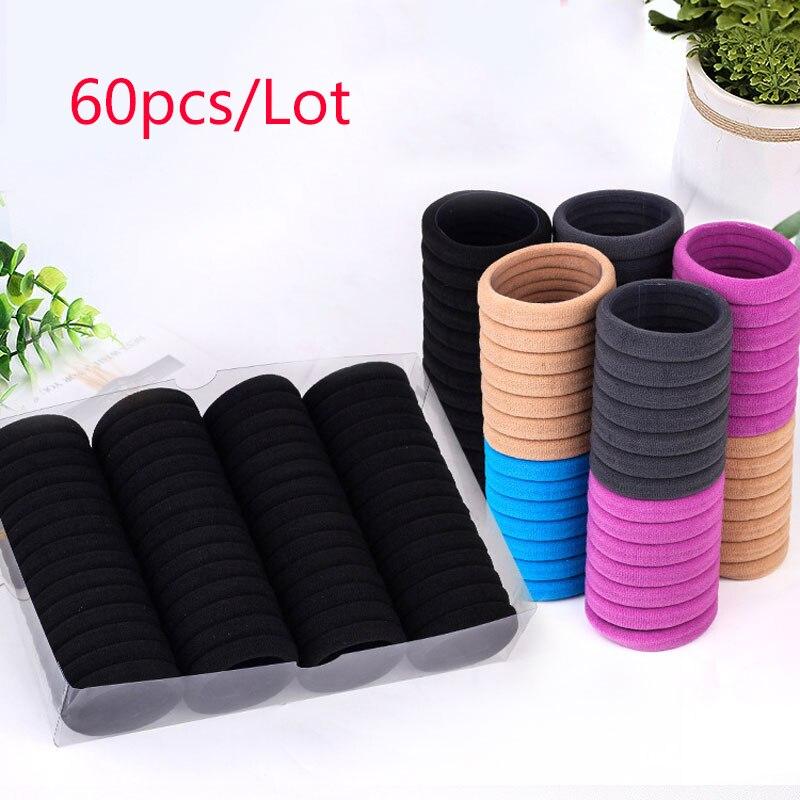 60 Pcs/Lot Scrunchies High Elastic Hair Rubber Hair Accessories For Women Girls Simple  Seamless Tie Hair Ring Rope Hair Holder