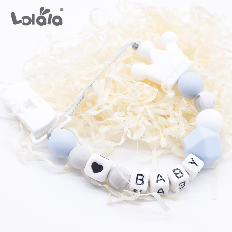 Personalized Name Silicone Teething Pacifier Clips With Safe ABS Beads Silicone Pacifier Chain Holder For Nipples Baby Chew Toys
