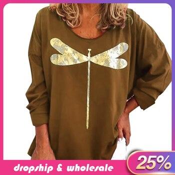 Camiseta Vintage para mujer, camiseta holgada de moda para mujer, camiseta con estampado de libélula y manga larga de cuello de pico, camiseta, camiseta #251106