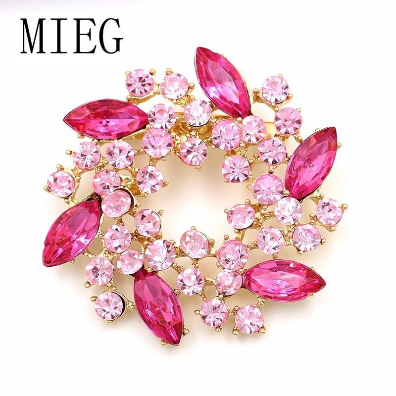 MIEG Brand Flower Garland Brooch Dress Jewelry Accessories Bouquet Pins For Women Girls Wedding Party