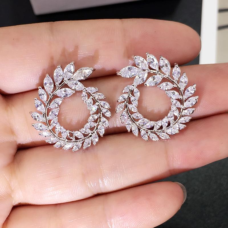 2020 new luxury Leaf Ear Stud 925 sterling silver earrings for women anniversary gift jewelry drop shipping moonso E5637