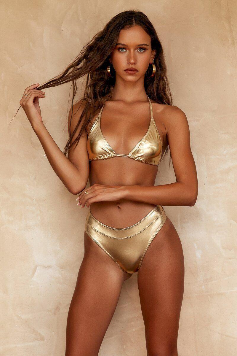 Sexy Triangle Push Up Bikini Set Golden Bling Bling Bikinis Women Gold Brazilian Swimwear Biquini Bathing Suit Maillot De Bain