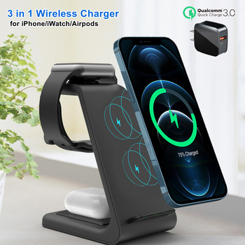 3 in 1 Wireless Charger 10W Fast Charging for iPhone 11 pro/XR/Xs Max Samsung for Apple Watch 5 4 3 Airpods pro with EU Charger 1