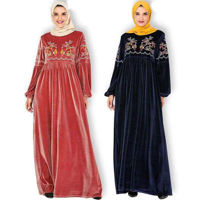 Plus Size Winter Velvet Abaya Dubai Turkish Hijab Muslim Dress Islamic Clothing For Women Caftan Kaftan Dresses Robe Kleding