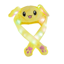 LED Glowing Plush Moving Rabbit Ear Hat Pinching To Move Vertically Electronic Toy Soft Stuff For Birthday Party Gift