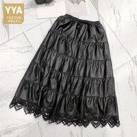 Genuine Leather Knee Length Short Skirt Women Drawstring Patchwork Lace Pleated Skirts Autumn Female Fashion Sheepskin Skirts