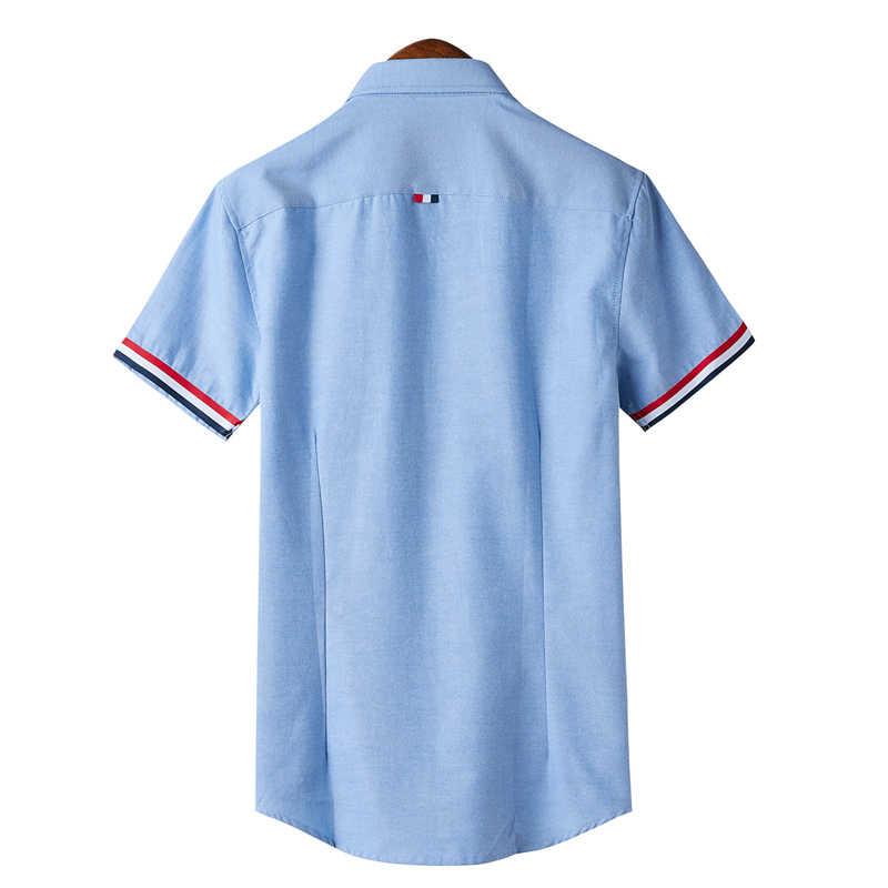 2020 marke Design Casual-Shirt Männer Kurzarm Slim Fit Baumwolle Kleid Shirts Männer Schwarz Büro Formale Männer Shirt Plus größe 5XL