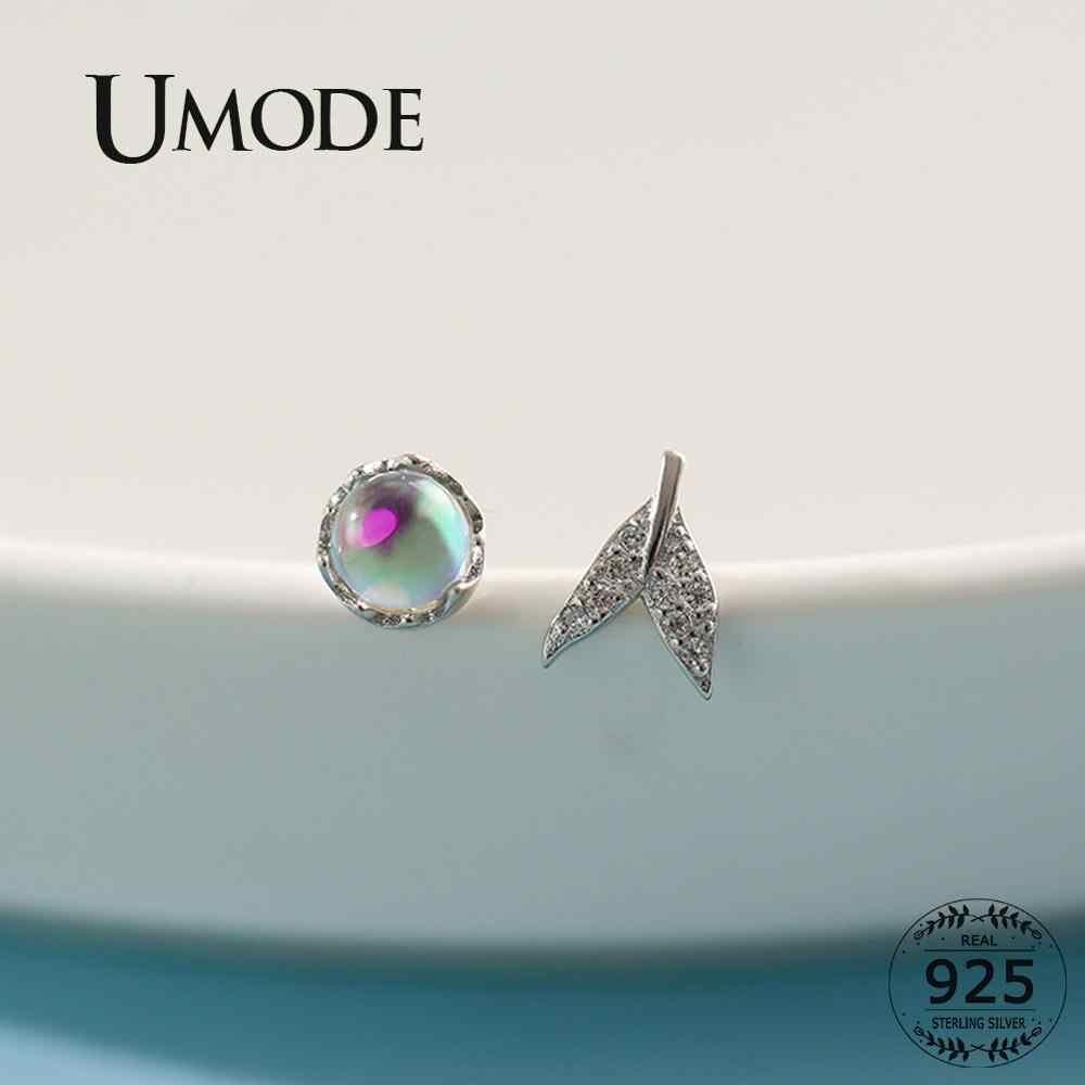 UMODE Mermaid หางไม่สมมาตร 925 เงินสเตอร์ลิงสตั๊ดต่างหูผู้หญิงจริงรอบแก้วสี s925 ต่างหูเครื่องประดับ ULE0560