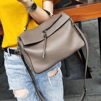 Leather Women's Bag 2019 New Fashion Hand Bill of Lading Shoulder Messenger Bag Contrast Bag