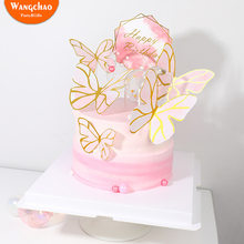 Creative Pink Painted Butterfly Princess Happy Birthday Cake Topper Set Baby Shower Kids Favors Party Supplies Candy Bar(China)