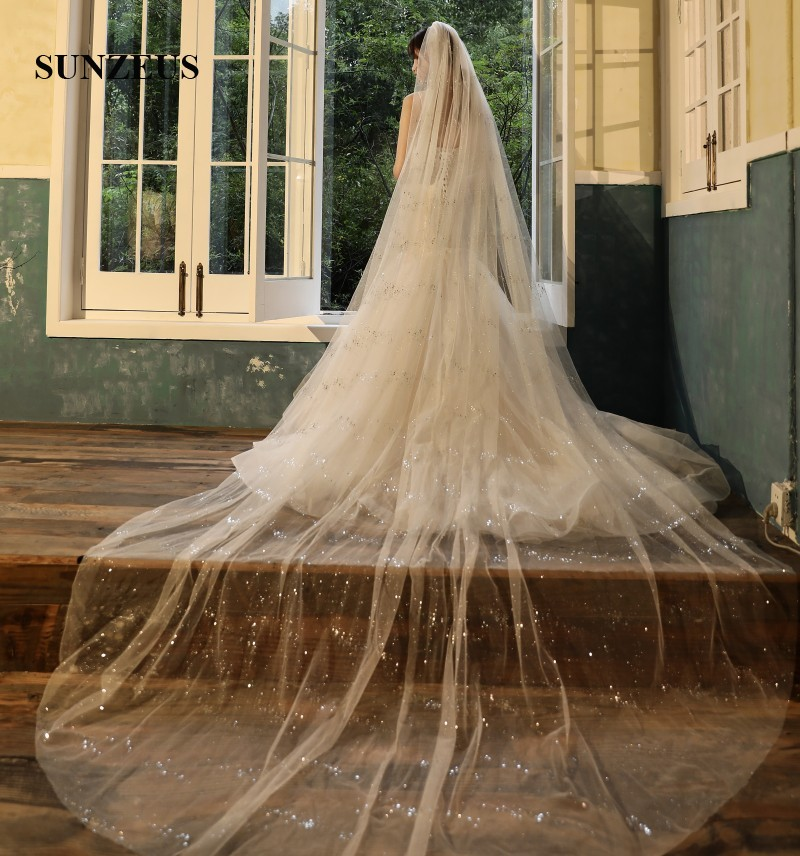 Sparkle Tulle Wedding Veils With Comb 4 Meters Long Cathedral Veils For Brides 2 Layers Velos Novia Largos LVV08