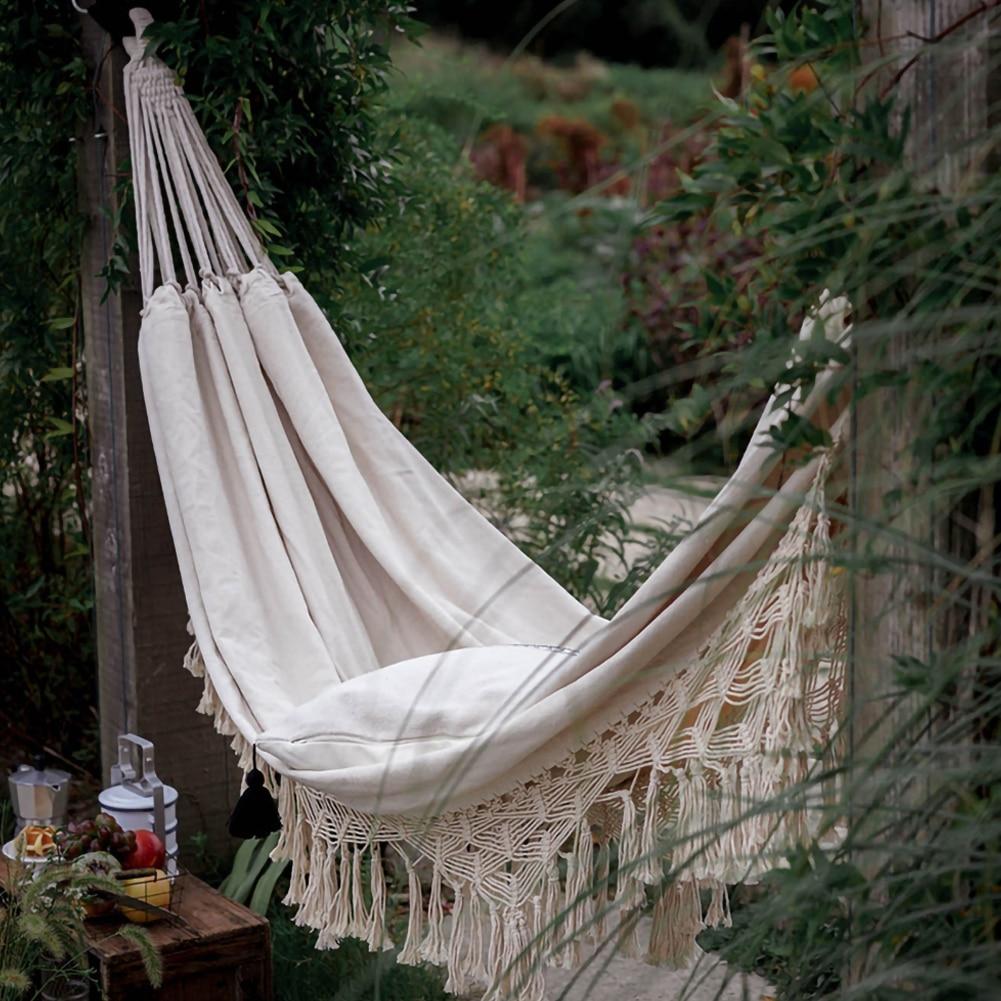 200cm * 150cm Hammock Boho Style Brazilian Macrame  Fringed Deluxe Double Hammock Net  Chair Indoor Hanging Swing Home Decor 1