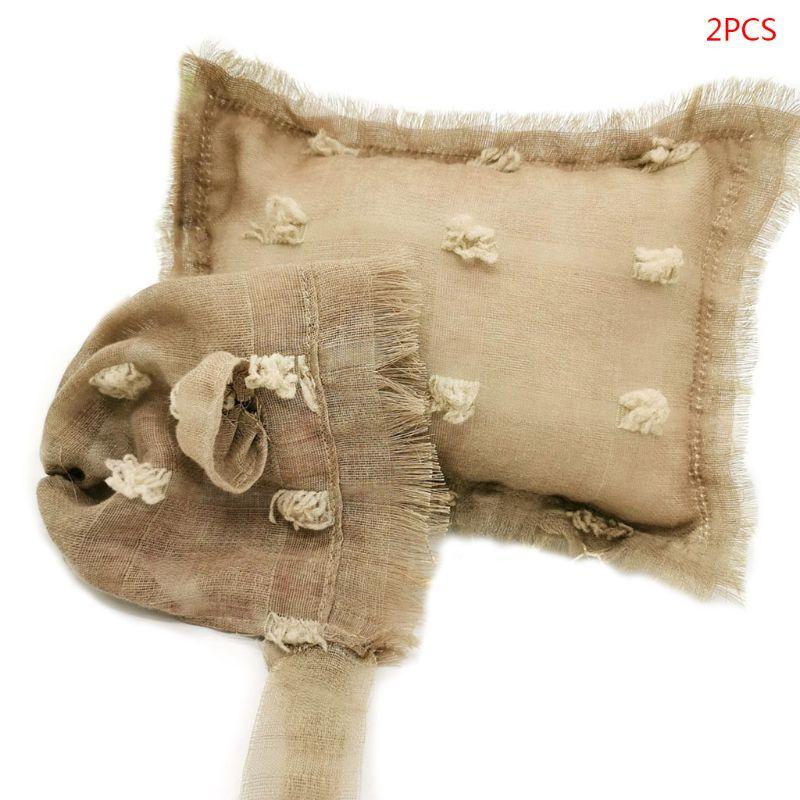 2 Pcs/set Baby Infants Photo Accessories Tie-dyed Cotton Linen Hat Pillow Set Newborn Photography Props K4UE