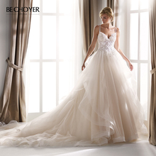 Vestido de Noiva Sweetheart Appliques Wedding Dress Beaded Lace Sleeveles A Line Ruched Tulle Princess Bride Gown BECHOYER NZ25