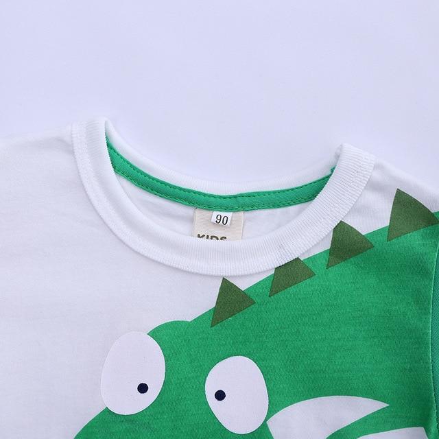 Dessin animé dinosaure t-shirt pour petits garçons à manches longues col rond t-shirt hauts 100% coton sweat Dino Bottoming chemise tissu décontracté