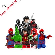 8 stücke legoings Bausteine Super Heroes Venom Punk Hulk Spiderman Carnage Schwarz Laterne Flash-shazam Figuren Spielzeug Für Kinder(China)