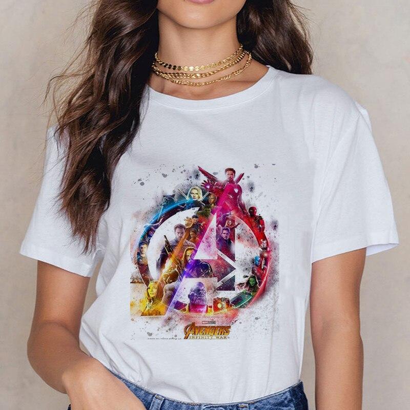 Women's Marvel Movie Series Print Harajuku TShirt Movie Avengers Print 0 Collar Short Sleeve Shirt Women's Street Clothing Shirt
