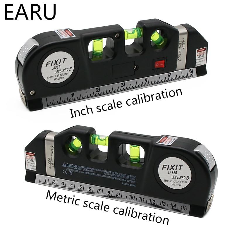 Laser Level Horizon Vertical Measure 8FT Aligner Standard Metric Rulers Multipurpose Measure Leveler Black Tape Aligner Bubbles