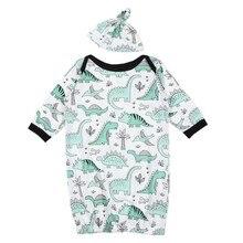 Красивые удобные спальные мешки для младенцев; комплект из 2 предметов; шапочка с длинными рукавами; спальный мешок для малышей с принтом динозавра для малышей