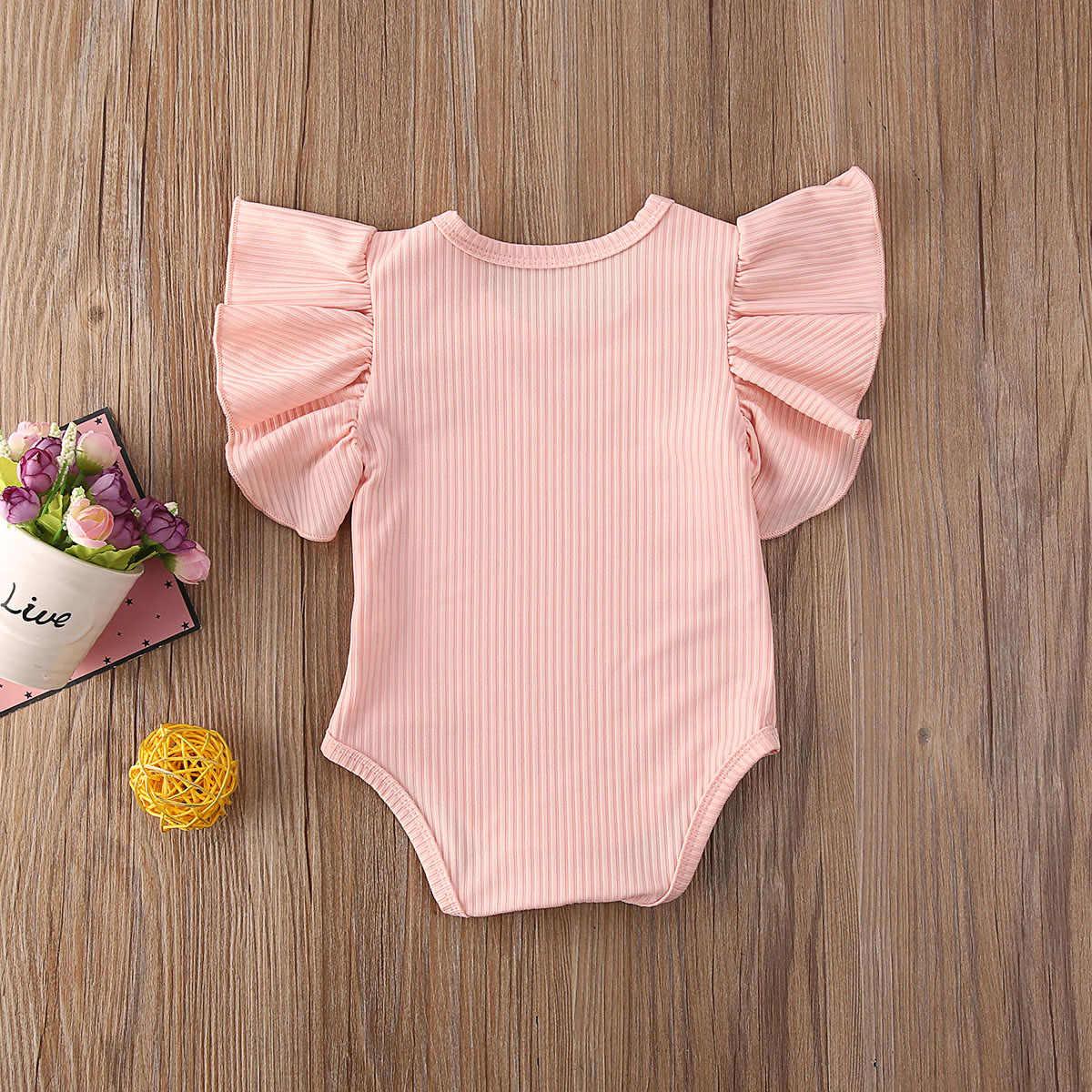 Cute Summer Newborn Baby Bodysuits Cotton Knit Infant Kids Solid Fly Sleeve Jumpsuits Princess Sweet Bodysuits Sunsuit 0-18M