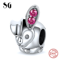 925 Sterling Silver Rabbit with Purple Cubic Zirconia Fit Authentic Pandora Charm Bracelet Beads For Women Fashion DIY Jewelry
