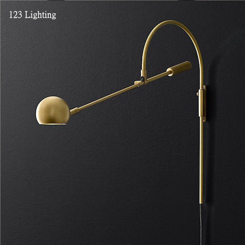 American Retro Rotatable Wall Lamp <font><b>G9</b></font> LED Living room Wall Sconce Bedside Wall Light Reading Lamp Gold/Black Long arm Study Lamp image