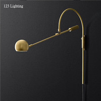 American Retro Rotatable Wall Lamp G9 LED Living room Wall Sconce Bedside Wall Light Reading Lamp Gold/Black Long arm Study Lamp