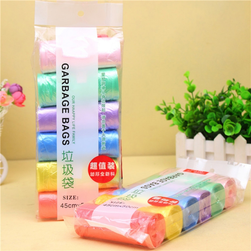6 Rolls Garbage Bags Disposable Kitchen Waste Bag Rubbish Cleaning Thick Colored Garbage Bags Household Cleaning Appliances