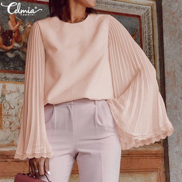 Celmia 2020 スタイリッシュなロングフレアスリーブレースブラウス女性プリーツシフォン blusas カジュアル固体エレガントなシャツプラスサイズ