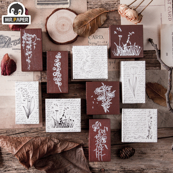 Mr Paper 10 Designs Planet Moon Flowers Number Piano Wooden Rubber Stamp for Scrapbooking DecoDIY Craft Standard Wooden Stamps