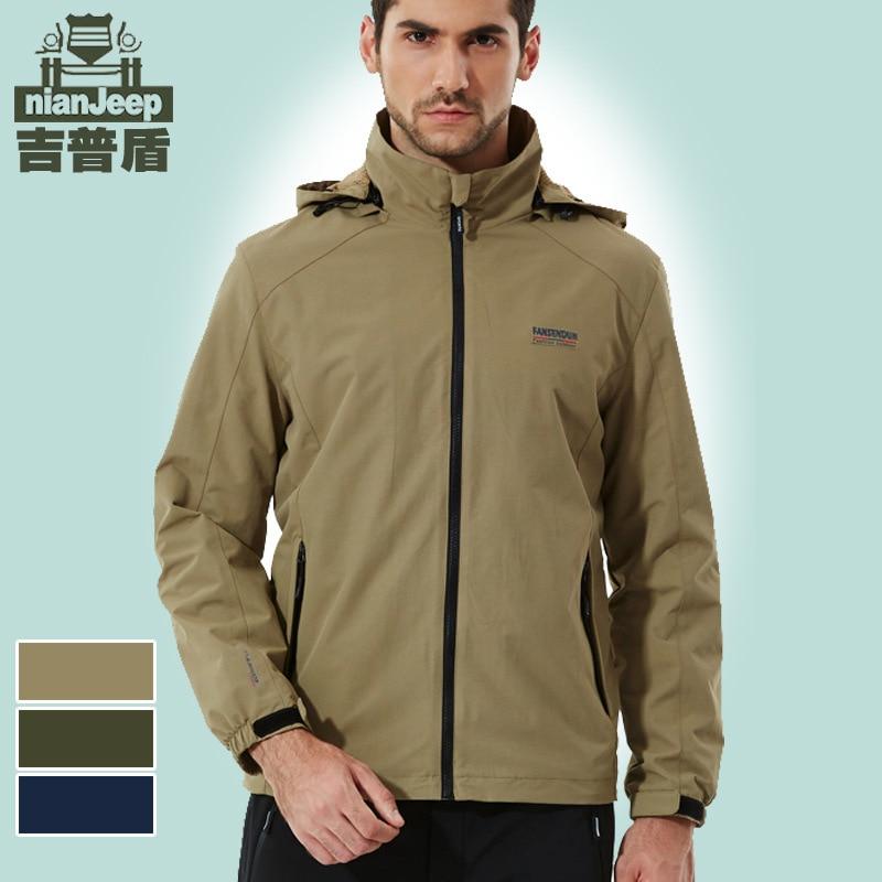 NIANJEEP Single Layer Men Mesh Raincoat Jacket Casual Outdoor Large Size Jacket Waterproof Mountaineering MEN'S Outerwear 5326